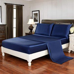 4pcs Silky Soft Luxury Bedding Cover Blue